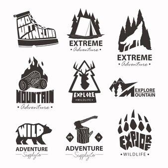 Коллекция логотипов для альпинизма на открытом воздухе