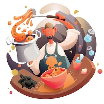 アラビア料理を調理するイスラム教徒のシェフ