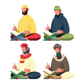 イスラム教徒の男性のイラスト読書コーラン
