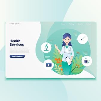 女医提供健康サービスアイコン