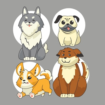 Набор векторных жестов для милой собаки