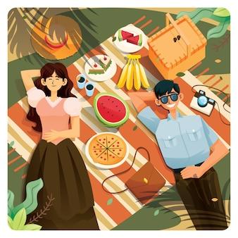 Молодая пара мужчин и женщин праздник спит на земле