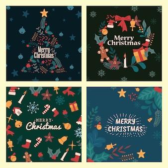 メリークリスマスグリーティングカードクリスマスアイテムセットコレクション