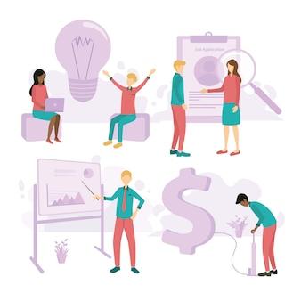 Различные бизнес набор иллюстраций с плоскими людьми