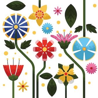 Цветущие плоские цветы с эффектом зернистости