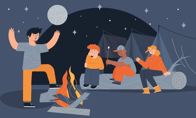 Дети сидят у костра и в палатках, едят зефир и рассказывают страшные истории по ночам.
