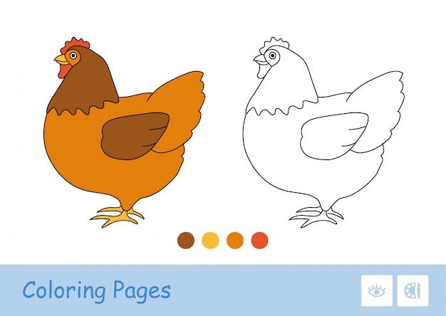 Цветной шаблон и простое бесцветное толстое контурное изображение стоящей курицы для самых маленьких раскрасок. домашние животные на ферме, птичий двор и в сельской местности. веселье и обучение для детей.