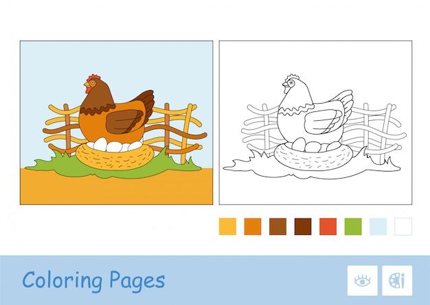 Цветной шаблон и бесцветное контурное изображение выводка цыпленка, сидящего на яйцах в птенце на сельской ферме птичьего двора дошкольного возраста детей, книжка-раскраска иллюстрации. раскраски домашние животные