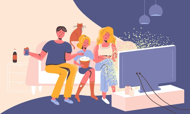 Семья дома на диване смотрит новости по телевизору, чувствуя шок, стресс и растерянность от манипулятивных историй.