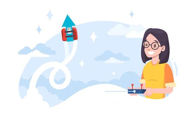 スタートアップビジネスのメタファーとしてジェットパックを実行している若い女性開発者。