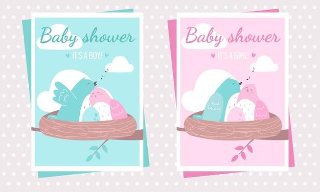 赤ちゃんを期待して、鳥とベビーシャワーのグリーティングカード。