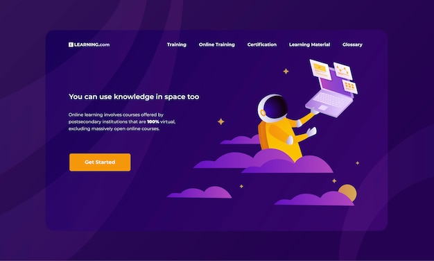 宇宙飛行士の勉強とトレンディな紫色の背景に教育ウェブサイトのカラフルなベクトルイラスト。