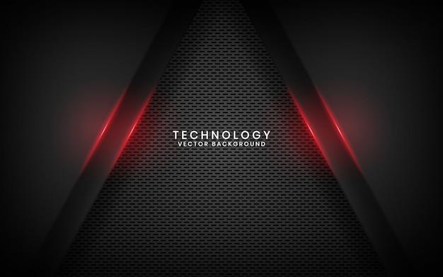 Абстрактный черный металлический фон технологии с эффектом красного света на темном пространстве
