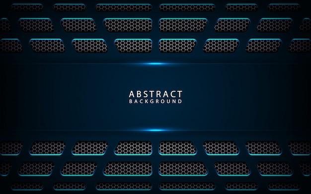 Абстрактный темно-синий металлический фон технологии