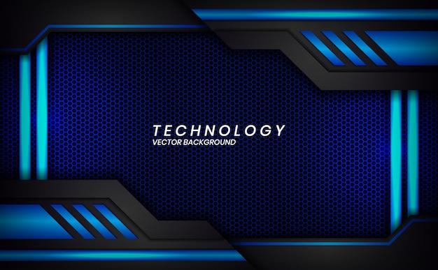 Абстрактный металлический черный синий макет рамы современный технический дизайн фона