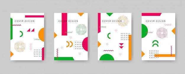 Набор шаблонов дизайна обложки мемфис