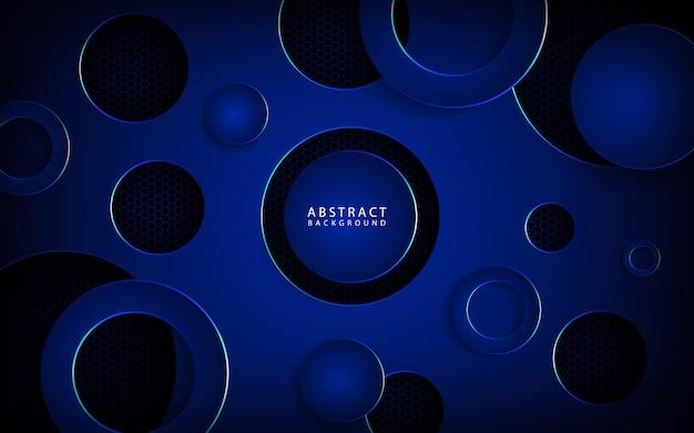 暗い空間に青い円の重複背景