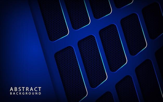 暗い空間に抽象的な青い金属技術の背景