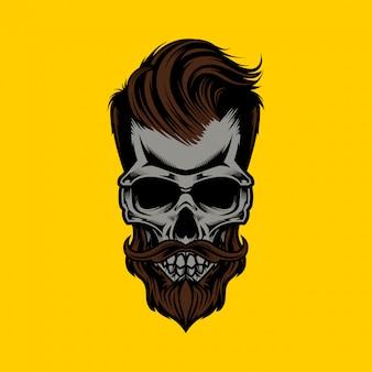 髪型とひげを持つ人間の頭蓋骨
