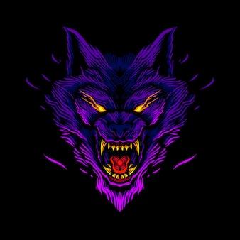 詳細な怒っているオオカミの頭のイラスト