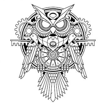 Иллюстрация совы стимпанк