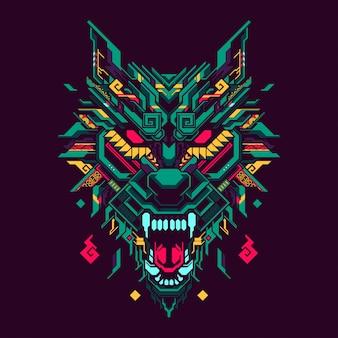 多角形のオオカミの頭の図