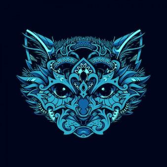 装飾的な猫の顔。エスニック風の猫。