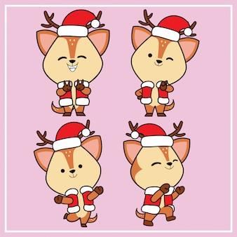 クリスマス帽子コレクションとかわいいかわいい手描き鹿キャラクター