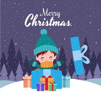 冬の衣装を着てかわいいかわいい手描き男の子とメリークリスマス