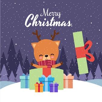 赤いスカーフを着てかわいいかわいい手描き鹿とメリークリスマス
