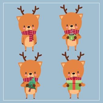 異なるポーズで笑顔と変な顔でスカーフを着てかわいいかわいい手描き鹿