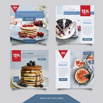 食品料理ソーシャルメディア広告バナー投稿テンプレートコレクション
