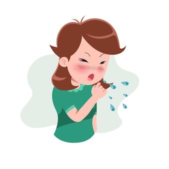 Девочки или люди, страдающие от различных симптомов простуды и гриппа. персонаж с кашлем. концепция болезни. изолированные. иллюстрация в плоском мультяшном стиле. здоровье и медицина.