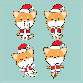 クリスマス帽子コレクションでかわいいかわいい手描き柴犬犬キャラクター