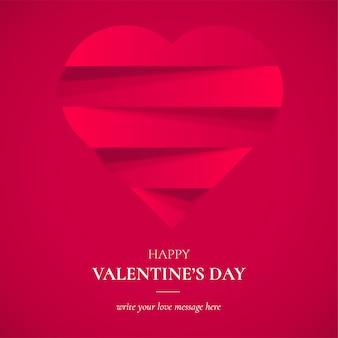 バレンタインデーの背景のペーパーカットの心
