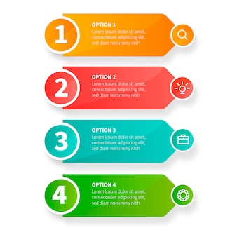ビジネスアイコンと現代のビジネスインフォグラフィックの手順