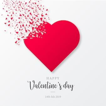 壊れた図形とバレンタインデーの背景