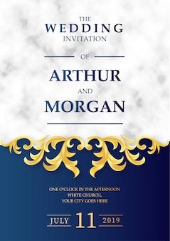 大理石の背景を持つ豪華な結婚式の招待状