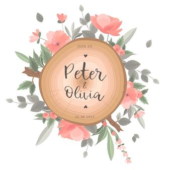 Красивая цветочная свадебная открытка