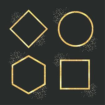 Геометрическая золотая рамка с блестками