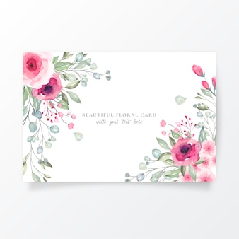 Шаблон акварель карты с прекрасными цветами