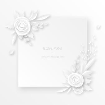 白い花飾り付きのエレガントな白いカード