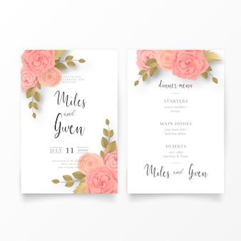 花の結婚式の招待状とメニューのテンプレート