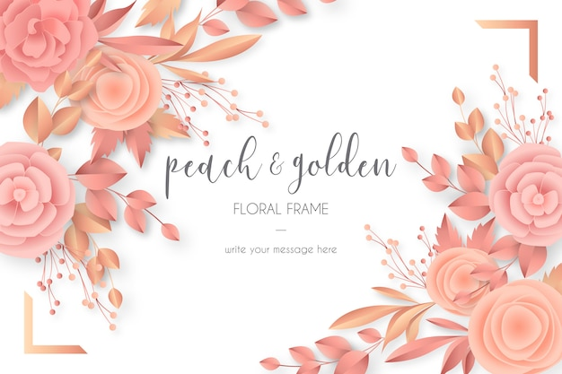 ピーチ&ゴールデンカラーの素敵な花のフレーム