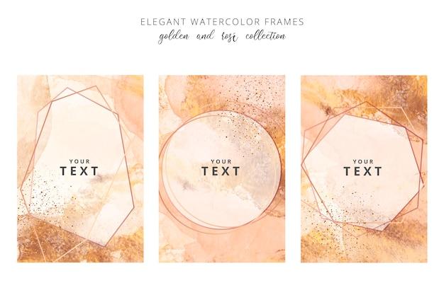 Золотые и розовые акварельные рамки