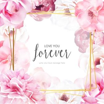 愛のメッセージとロマンチックな花のフレーム
