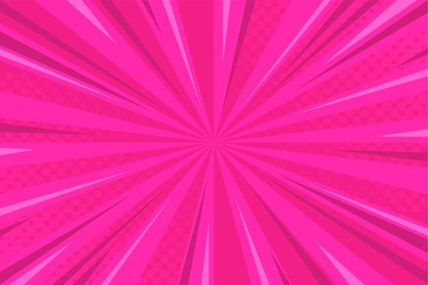 ハーフトーンとピンクのコミックの背景