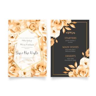 メニュー付きのエレガントな結婚式の招待状のテンプレート