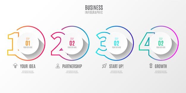 カラフルなステップビジネスインフォグラフィック番号