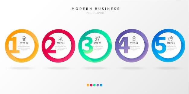 番号を持つ近代的なステップビジネスインフォグラフィック